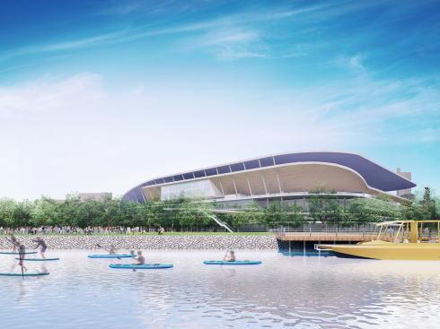 サンフレッチェ広島の新スタジアム、スタジアムパークを川側から