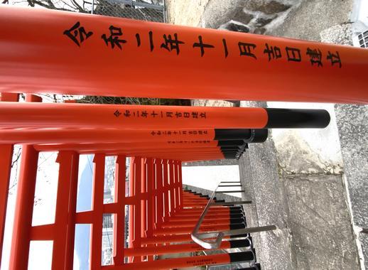 新幹線からも見える大島神社の連立鳥居