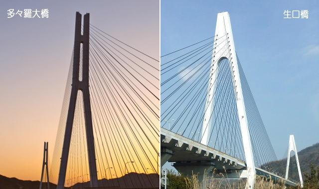 生口橋と多々羅大橋の違い・見分け方