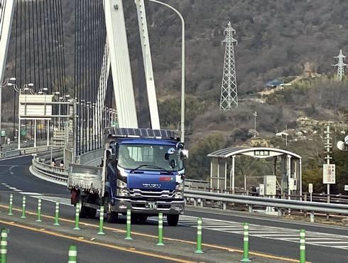 生口橋 橋の手前に自転車・歩行者道の料金所あり