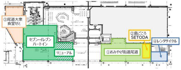 尾道駅に大衆食堂せと・島ごころ・レンタサイクルなど