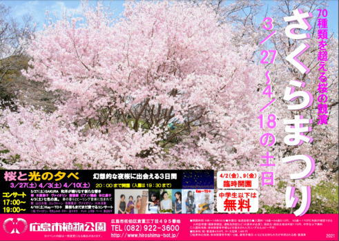 広島市植物公園 70種超えの桜競演「さくらまつり」開催