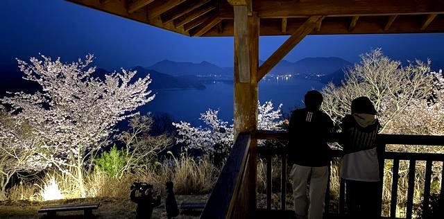 筆影山展望台と夜桜ライトアップ
