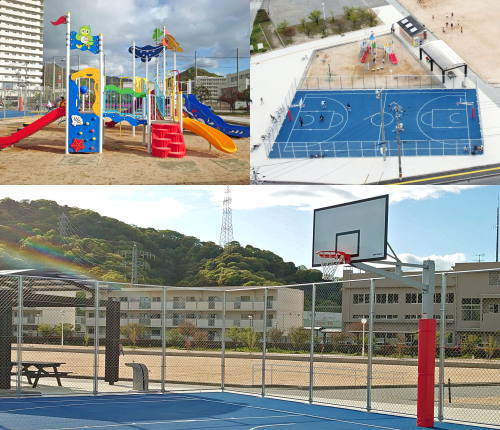 平成ヶ浜中央公園 リニューアル!坂町に潮風そよぐ バスケ専用コート・遊具・広場が誕生
