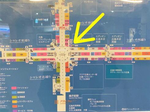 シャレオ中央広場のエリアマップ