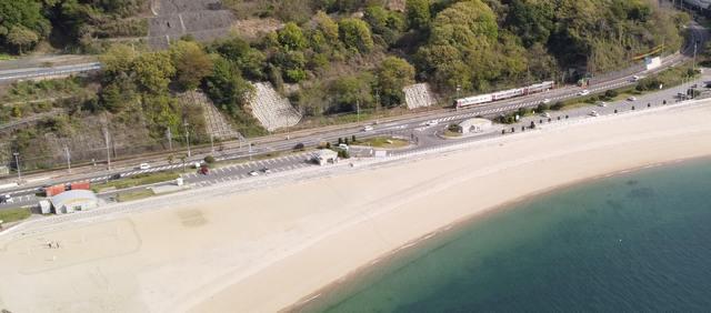 広島・ベイサイドビーチ坂 白い砂浜が続くビーチ