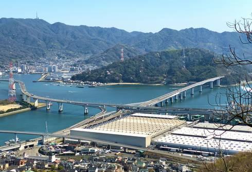 広島呉道路入り口の仁保JCT(俯瞰)