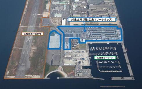 利用者を募集している現・広島マリーナホップの土地