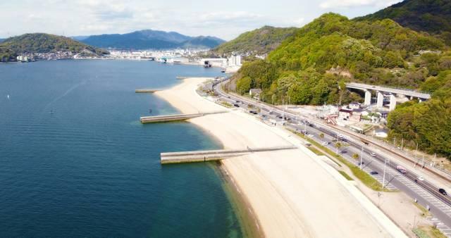 ベイサイドビーチ坂、広島市から近い眺め良し1200mのロングビーチ